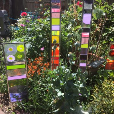 """Stained glass columns - Glass - 28"""" - by Karen Ongley-Snook"""