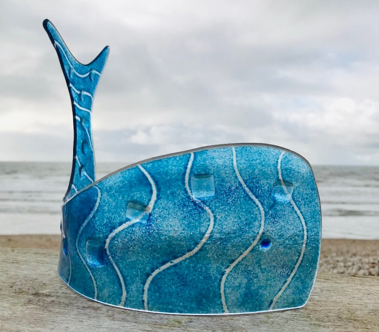 Blue Whale - Fused glass with powders