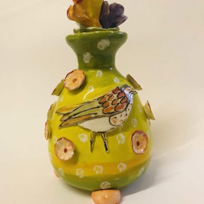 Bird and Flower Bottle - Ceramic - 15cm High - by Sarah Sykes