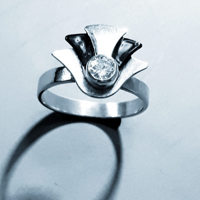 Art deco style ring - Silver, cubic zirconia, laquer - K/L - by Collette Batho