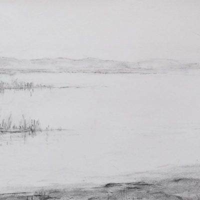 Retreat - charcoal on paper - 90 x 30 cm - by Isabel Dodson