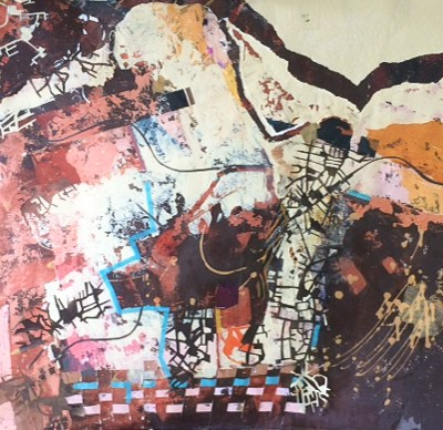 Dream of the Archaeologist - Mixed media on Khadi paper - 92cm X 142cm unframed - by Min Maude
