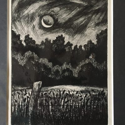 Trees by Moonlight - etching - 17 x 12 cm - by Miranda Phillimore