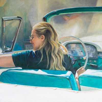 Reflections on an automobile - Oil on board - 60 x 60cm - by Richard Whincop