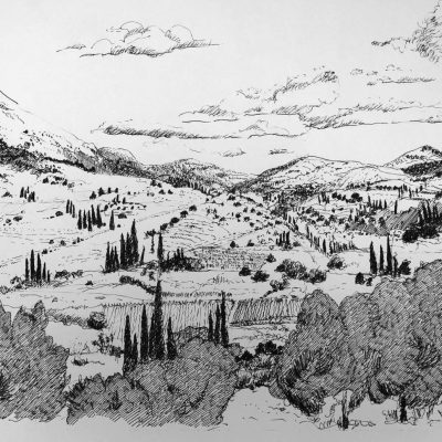 A Tuscan View            - Pen and Ink on paper - 13 x 19 inches - by Patricia Shears