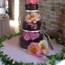 Chocolate wedding cake at Grittenham Barn wedding