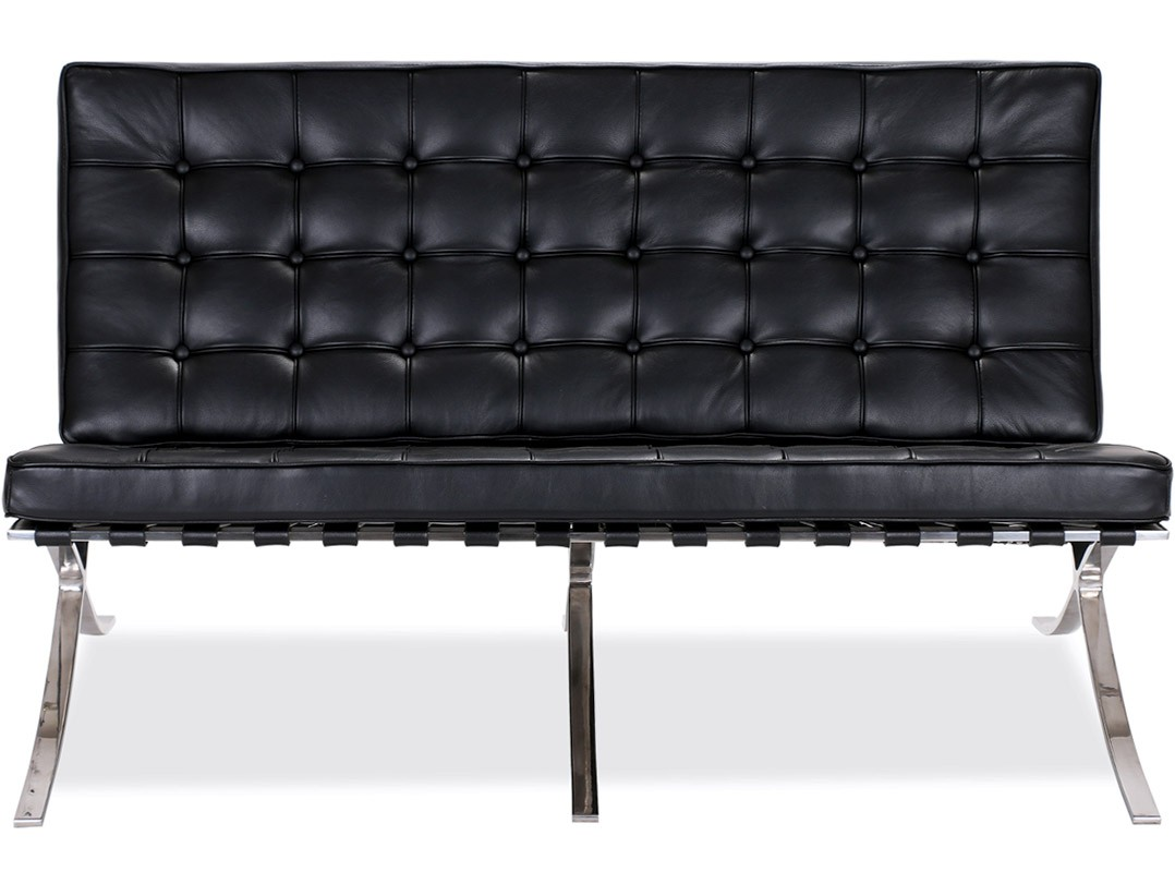 barcelona sofa green buffalo check 2 seater platinum replica chicicat by mies van der rohe