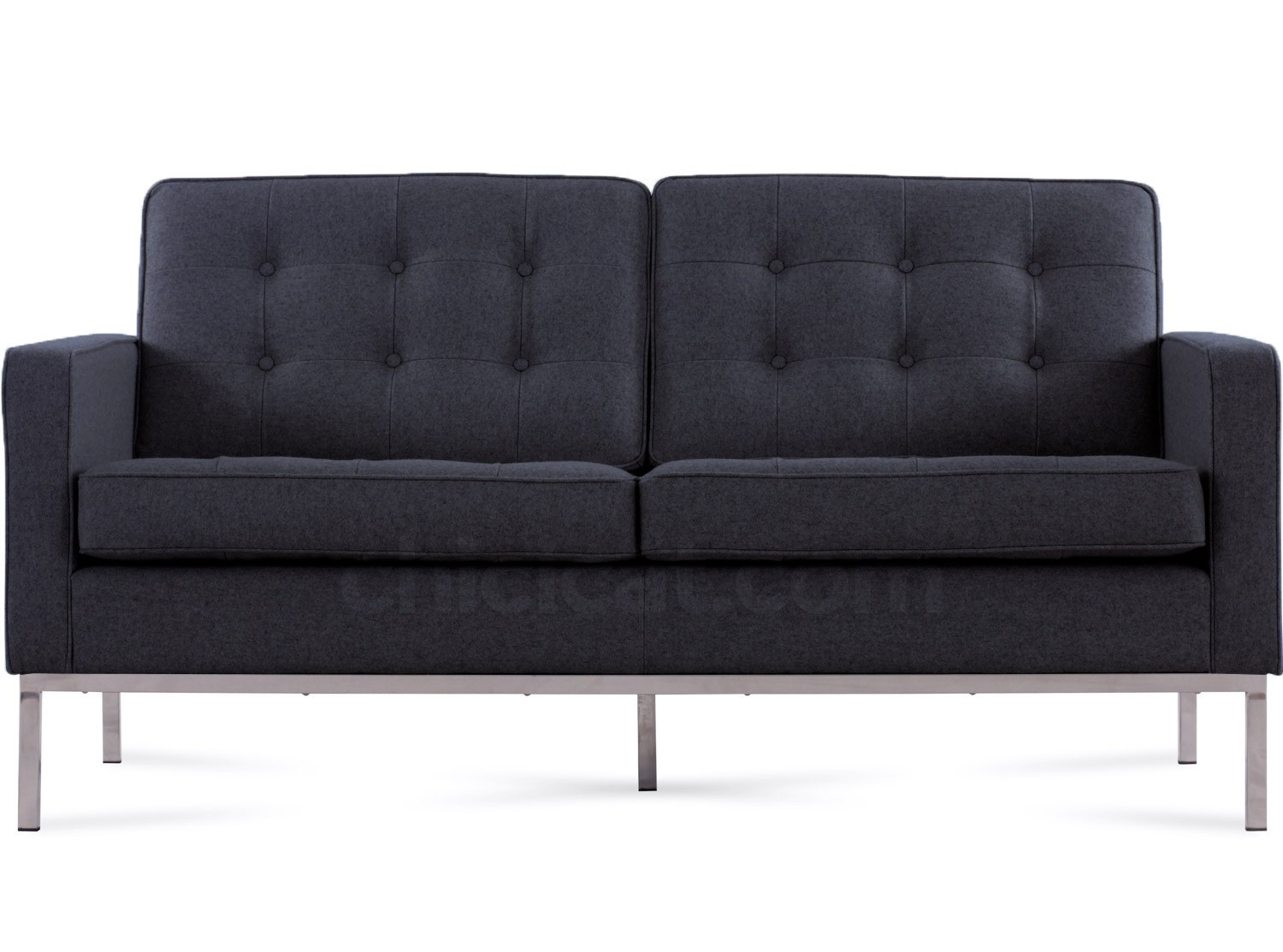 Florence Knoll Sofa 2 Seater Charcoal Wool Platinum