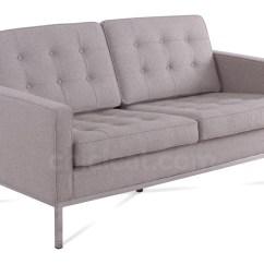 Sofa Florence Knoll Replica Modern Design Sets 2 Seater Wool Platinum Wheat