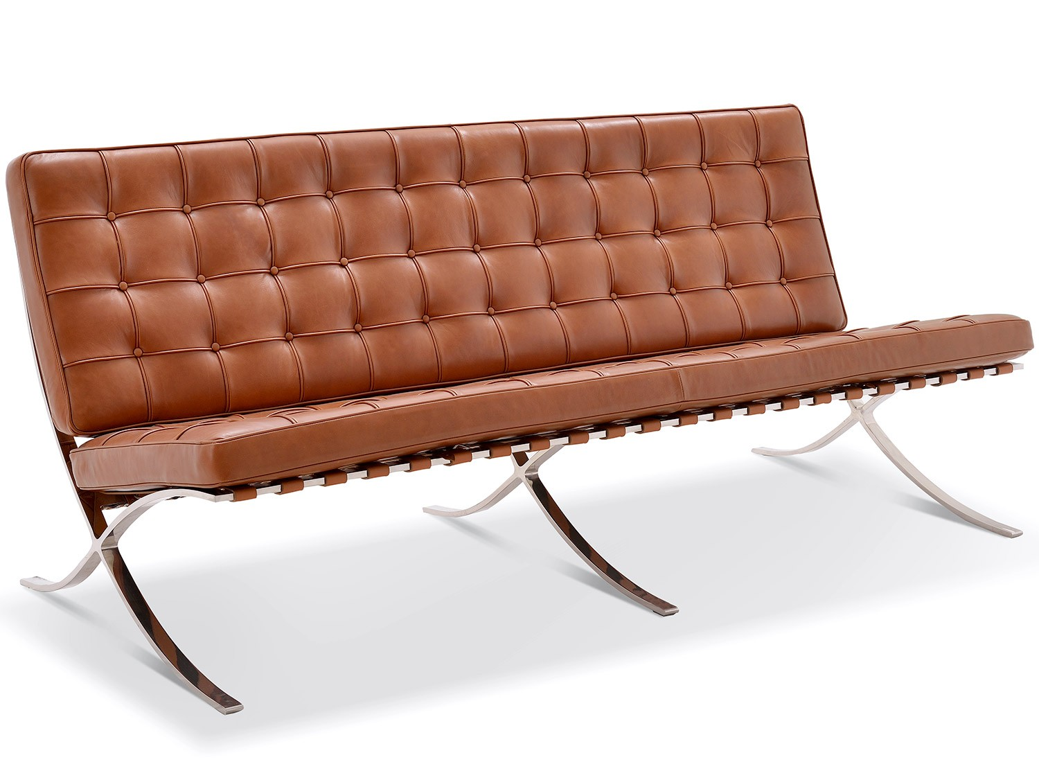barcelona sofa roma leather reviews replica 3 seater chicicat pictured in vintage tan waxed italian aniline