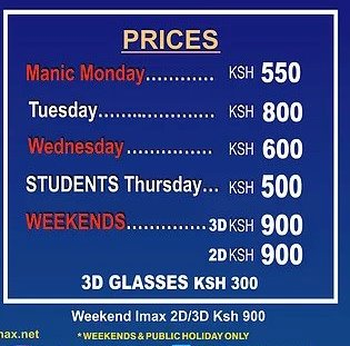 Prices at Century Cinemax Garden City Mall