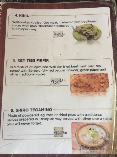 Habesha Restaurant Nairobi Menu - Page 2