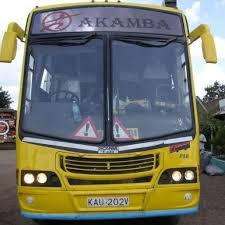 An old Akamba bus with the Akamba bus logo at the front