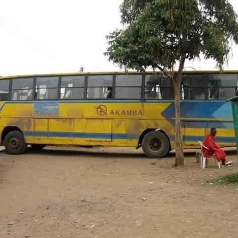 Akamba bus logo on the side of an Akamba bus