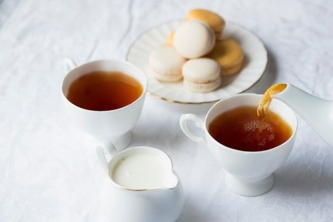 Tea, milk, and macroons