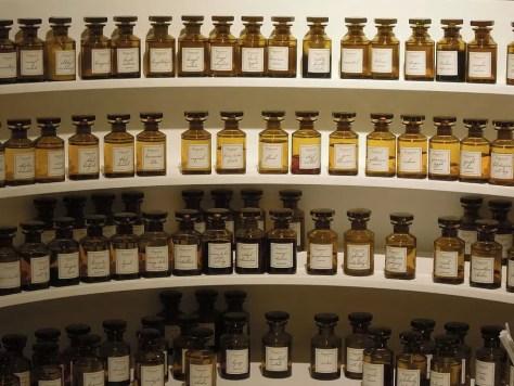 Refill perfumes on a shelf