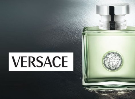 Versace logo with cologne bottle