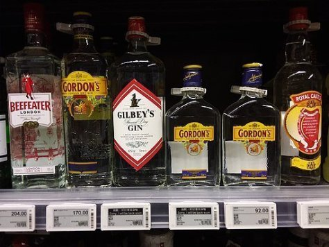Gordon's vs Beefeater: Gins on a shelf