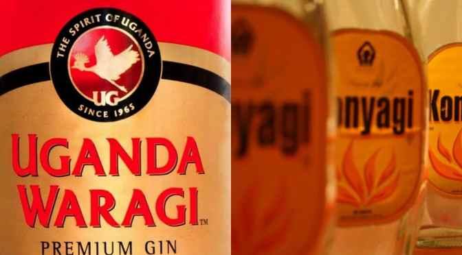 Konyagi Bottles and Uganda Waragi Label