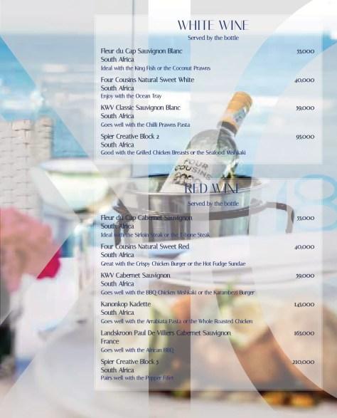 Karambezi drinks menu: White wines