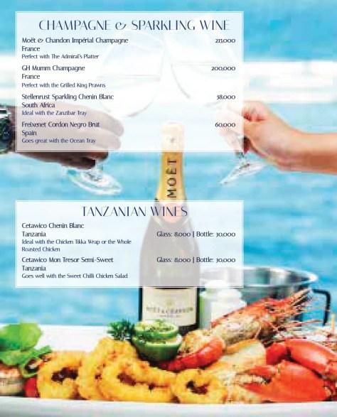 Karambezi drinks menu: Champagne, Sparkling wines, and Tanzanian wines