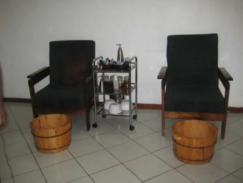Chairs and pedicure buckets at lemon spa - massage dar es salaam tanzania