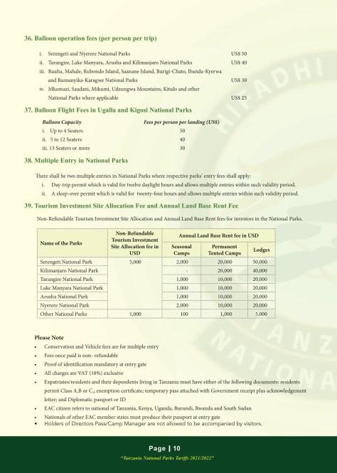 Mikumi National Park Fees 2021/2022: Air Balloons & Multiple Entry