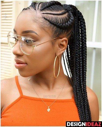 Latest Ghanian lines 2020: Ponytails with Braids