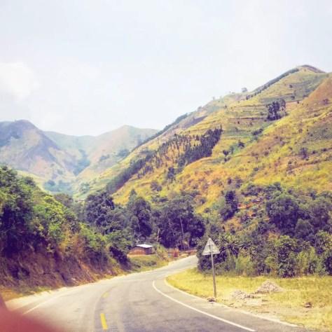 Driving through the hills of Fort Portal, Uganda