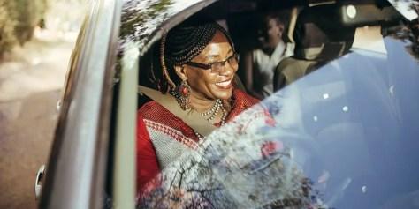 A Tanzanian woman drives an Uber