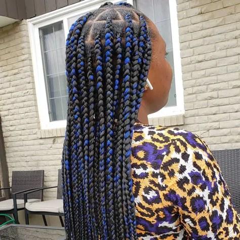 Blue and Black Box braids