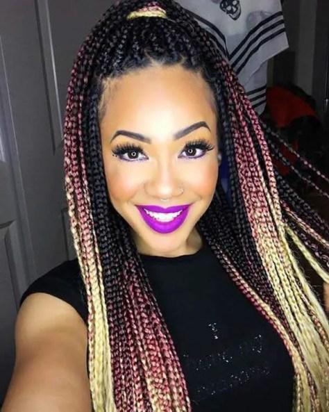 mixed colour braids for dark skin: Pink and blonde box braids