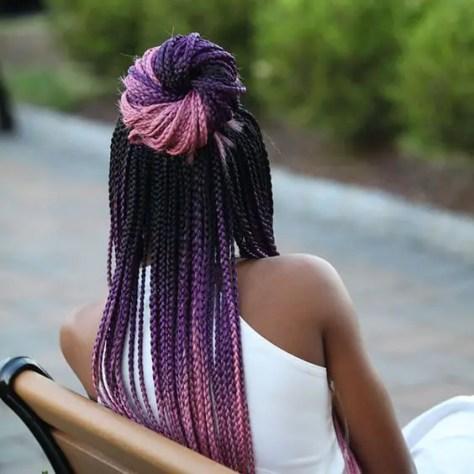 mixed colour braids for dark skin: Pink, Purple, and black braids