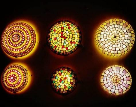 6 colorful circular mosaic style lights