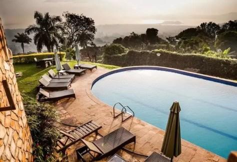 The swimming pool at Cassia Lodge, Buziga, Kampala