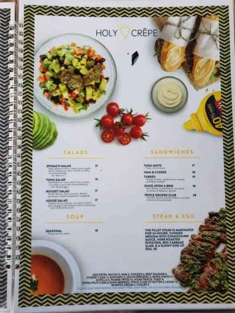 Holy Crepe Kololo menu non-crepe food