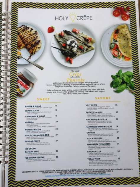 Holy Crepe Kololo menu sweet and savoury pancakes