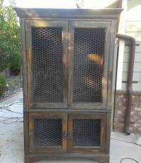 Chicken Wire Mesh Used in Cabinets, French Armoire