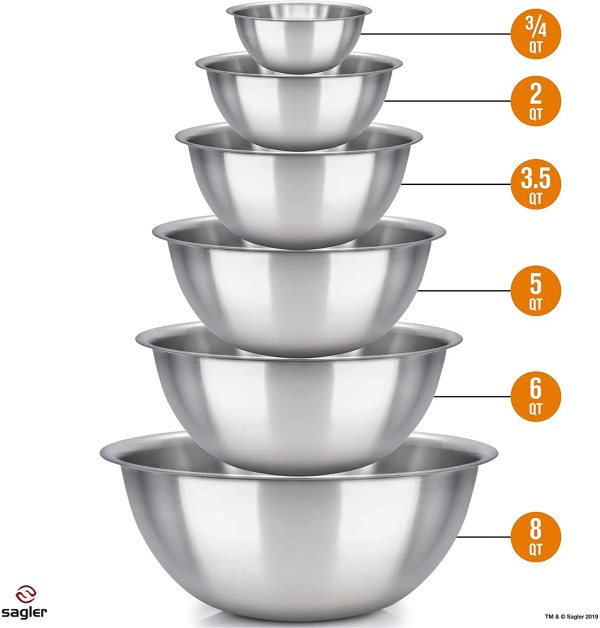 Great Value 6 Stainless Steel Mixing Bowl Set Measurements