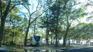 Anchor Cove Campground at the Blue Angel Naval Recreation Area in Pensacola, Florida has 72 RV sites with water and electricity.