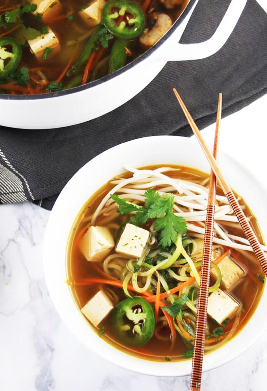 Vegan thai green curry soup