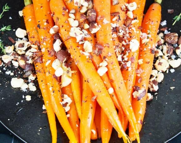 Glazed Carrots with toasted hazelnuts