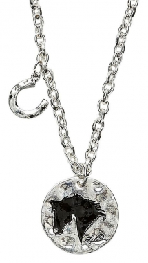 Hammered Metal Lila Horse Head Necklace with Charm: Chicks