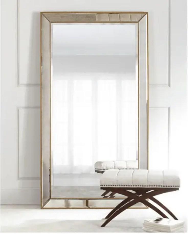 Improve Your Home Decor and Instagram Game With A Floor Mirror   Aldina Golden-Beaded Floor Mirror  Chiclypoised.com