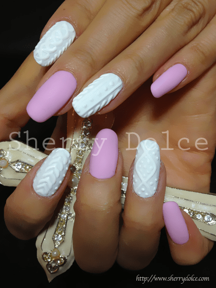 3d Cable Knit Sweater Nail Art