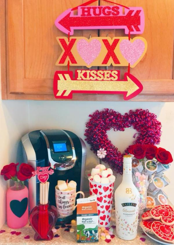 All the essentials needed for a Valentine's Day coffee station