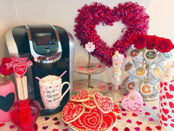 A closeup view of the V-Day coffee station.