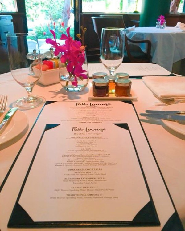 A view of the menu at the Polo Lounge