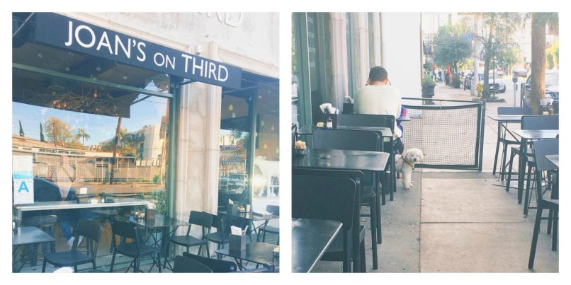 Two pictures of the patio seating at Joan's on Third.