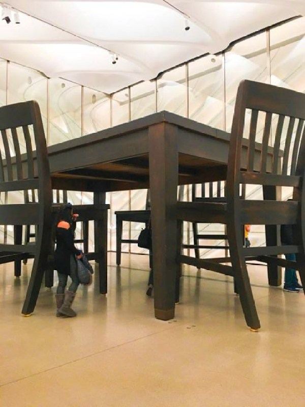 A big table exhibit at the Broad